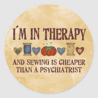 Sewing Therapy Round Sticker