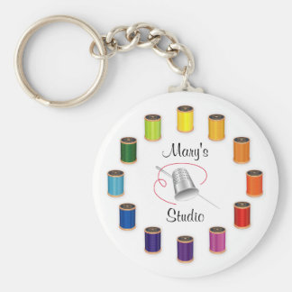 Sewing Thimble, Needle and Threads Basic Round Button Key Ring
