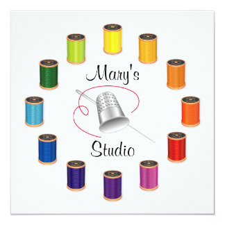 Sewing Thimble, Needle and Threads Card