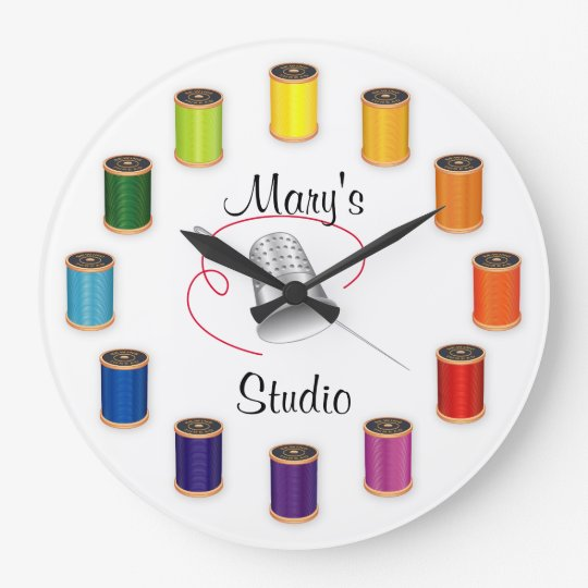 Sewing Thimble, Needle and Threads Large Clock