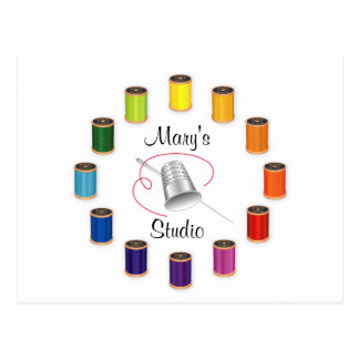 Sewing Thimble, Needle and Threads Postcard