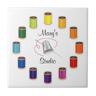Sewing Thimble, Needle, Threads Do It Yourself Small Square Tile