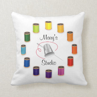 Sewing Thimble, Needle, Threads Do It Yourself Throw Cushions