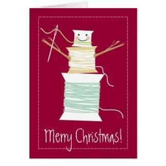 Sewing thread spools snowman Christmas holiday Card