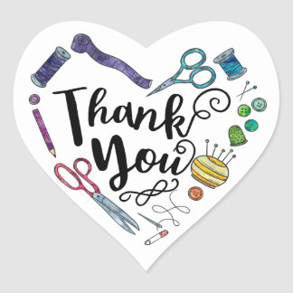 Sewing Tools Heart Thank You Stickers