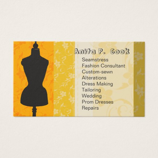 Sewing Vintage Mannequin Fashion Dress Form Business Card