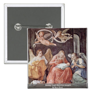 Sewing Virgin Mary And Angels By Reni Guido 15 Cm Square Badge