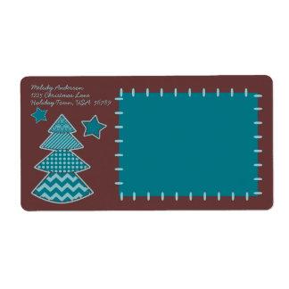 Sewn Christmas Tree Star Teal Maroon Aqua shipping Shipping Label