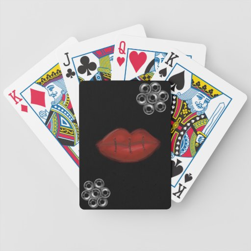 Sewn Red Lips Bolts Poker Deck