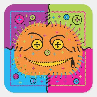 sewn smiling halloween pumpkin square sticker