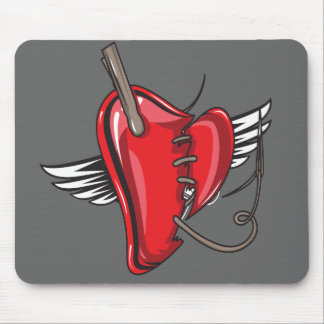 sewn up angel heart mouse pad