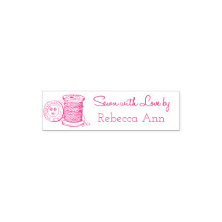 """Sewn with Love by"" Customizable Self-Inking Stamp"