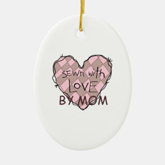 SEWN WITH LOVE BY MOM Double-Sided OVAL CERAMIC CHRISTMAS ORNAMENT