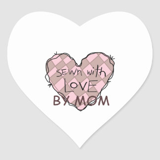 SEWN WITH LOVE BY MOM HEART STICKER