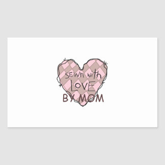SEWN WITH LOVE BY MOM RECTANGULAR STICKER