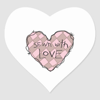 SEWN WITH LOVE HEART STICKER