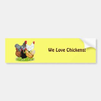 Sex-linked Chickens Quintet Car Bumper Sticker