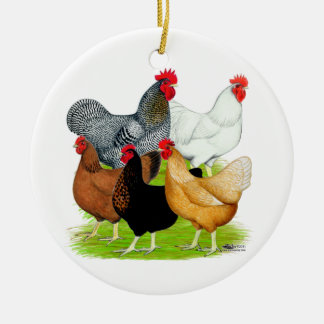Sex-linked Chickens Quintet Round Ceramic Decoration