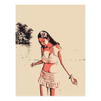 Sexy at the beach, hot bikini babe, sexy hula girl postcard