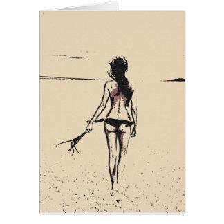 Sexy at the beach, hot bikini girl artistic nudes card