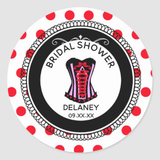 Sexy Corset and Red Polka Dots Bridal Shower Classic Round Sticker