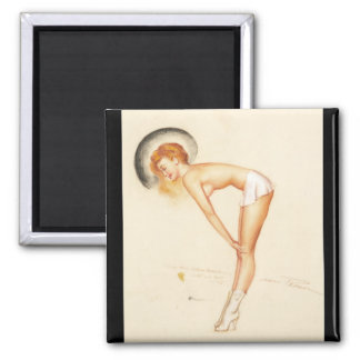 sexy girl Pin Up Art Square Magnet