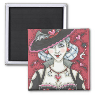 Sexy Goth Witch WICKED VALENTINE MAGNET Square