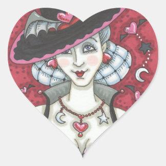 Sexy Goth Witch WICKED VALENTINE STICKERS Heart