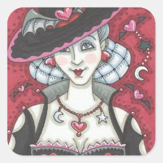 Sexy Goth Witch WICKED VALENTINE STICKERS Square