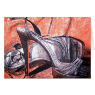 Sexy High Heel Shoes Charcoal Drawing Cards