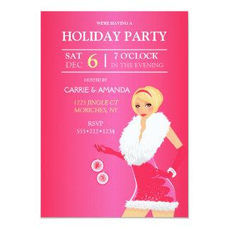 Sexy Hot Pink Christmas Fashion Girl Holiday Dress Card