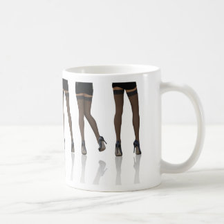 Sexy Legs with Stockings as Abstract Background Basic White Mug