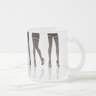 Sexy Legs with Stockings as Abstract Background Frosted Glass Mug