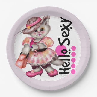 SEXY MADAME CAT 2 CUTE CARTOON  Paper Plates 9""