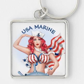 SEXY MARINE USA BUTTON  Premium SQUARE Keychain L