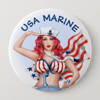 SEXY MARINE USA CARTOON  Button Huge, 4 Inch