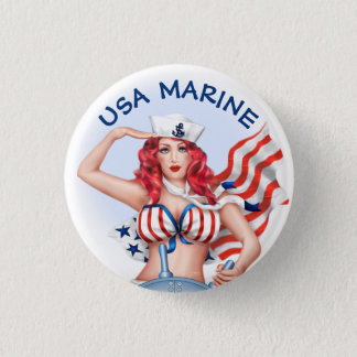 SEXY MARINE USA CARTOON  Button small