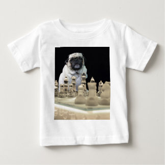 Sexy Misha pug playing chess with glasses Baby T-Shirt