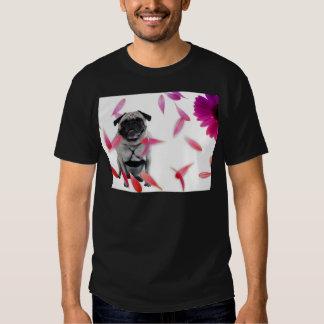 Sexy Misha pug posing in flowers. Shirt