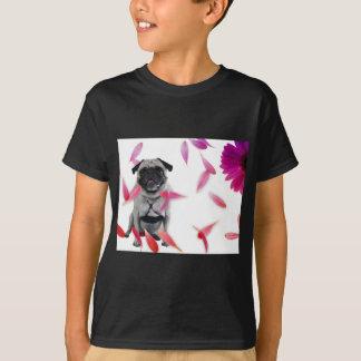 Sexy Misha pug posing in flowers. T-Shirt