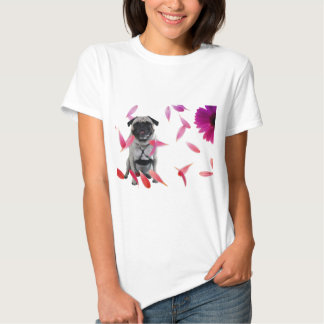 Sexy Misha pug posing in flowers. Tshirt