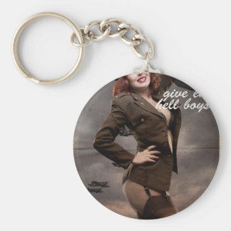 Sexy officer of the American forces in World War I Basic Round Button Key Ring