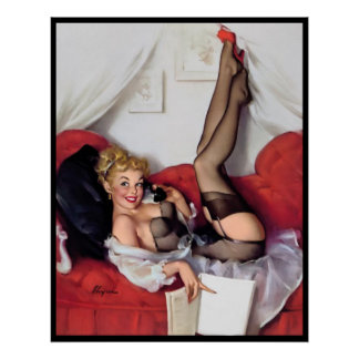 Sexy pin up in bed poster