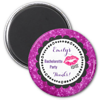 Sexy Pink Kissy Lips with xoxo! Faux Pink Glitter Magnet