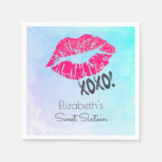 Sexy Pink Kissy Lips with xoxo! Party Paper Napkin