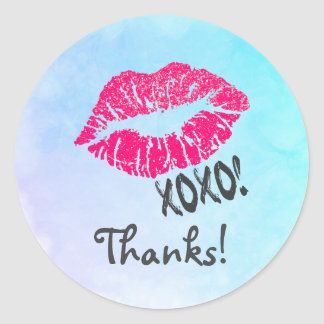 Sexy Pink Kissy Lips with xoxo! Thanks Classic Round Sticker