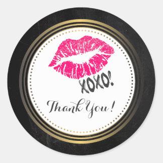 Sexy Pink Kissy Lips with xoxo! Thanks Round Sticker