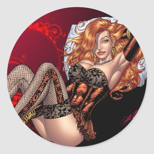 Sexy Red Head in Lingerie customizables by Al Rio Classic Round Sticker