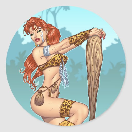Sexy Redhead Cavewoman Customisable Pinup - Al Rio Round Sticker