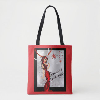 Sexy Seasons Greetongs With Campagne and Glitter Tote Bag